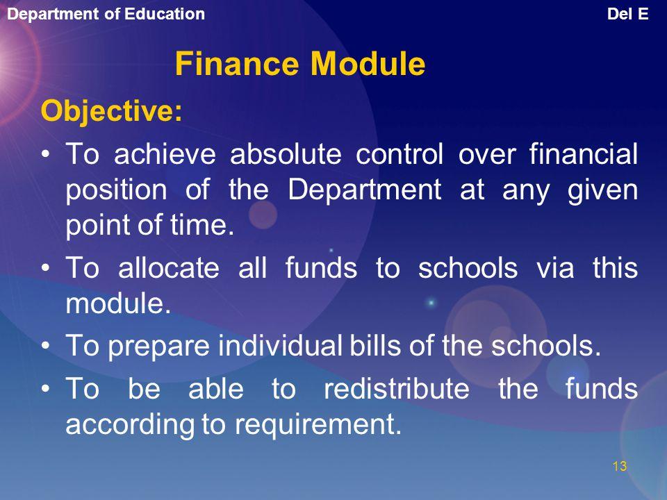 Finance Module Objective:
