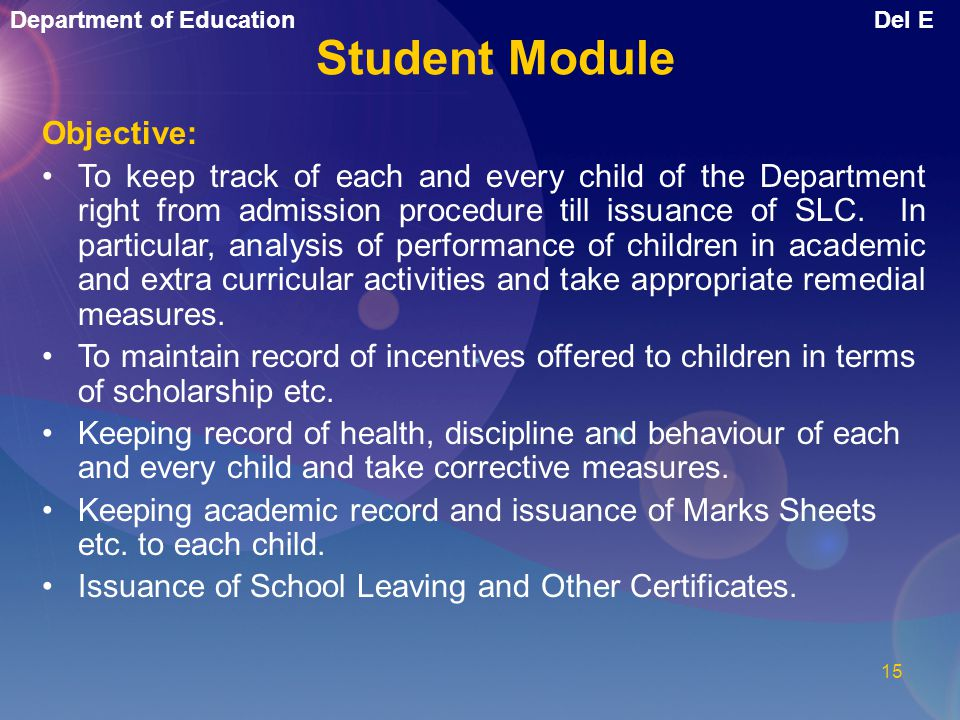 Student Module Objective: