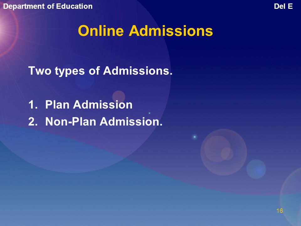 Online Admissions Two types of Admissions. Plan Admission