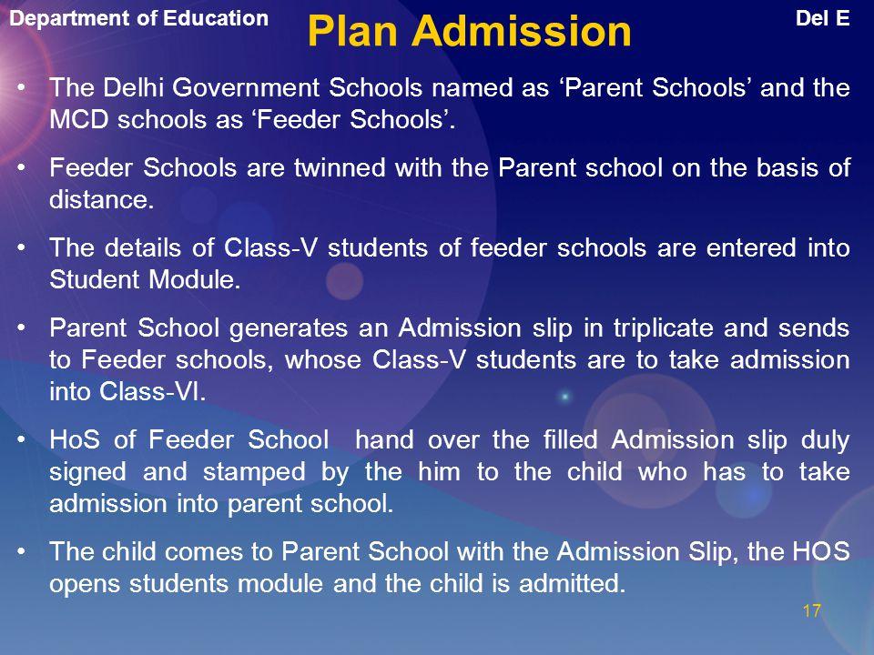 Plan Admission The Delhi Government Schools named as 'Parent Schools' and the MCD schools as 'Feeder Schools'.