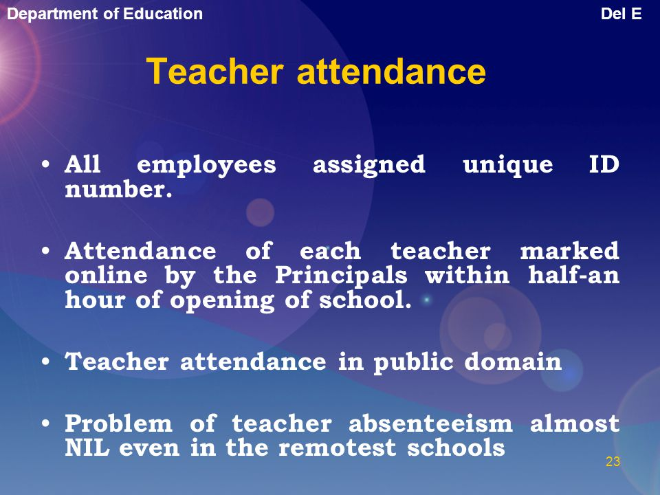 Teacher attendance All employees assigned unique ID number.