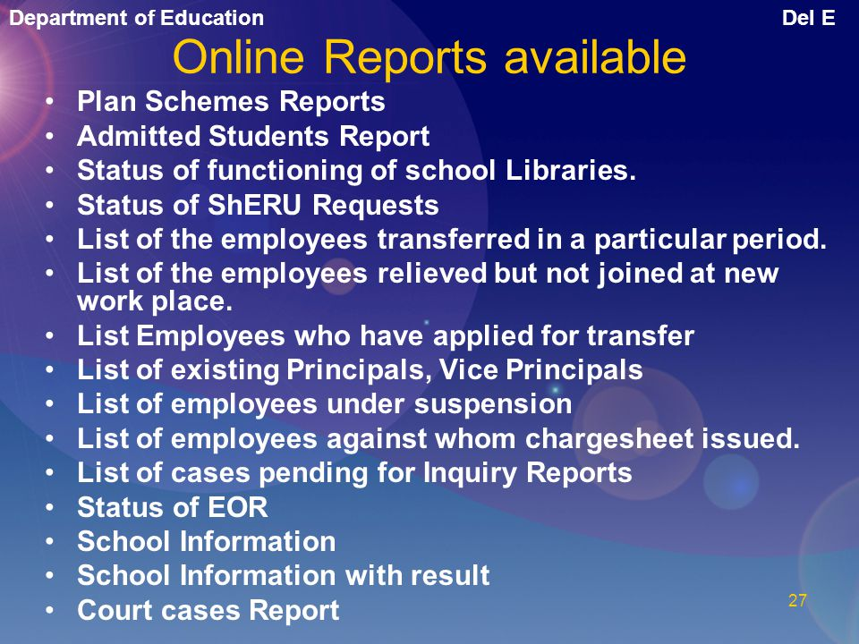 Online Reports available