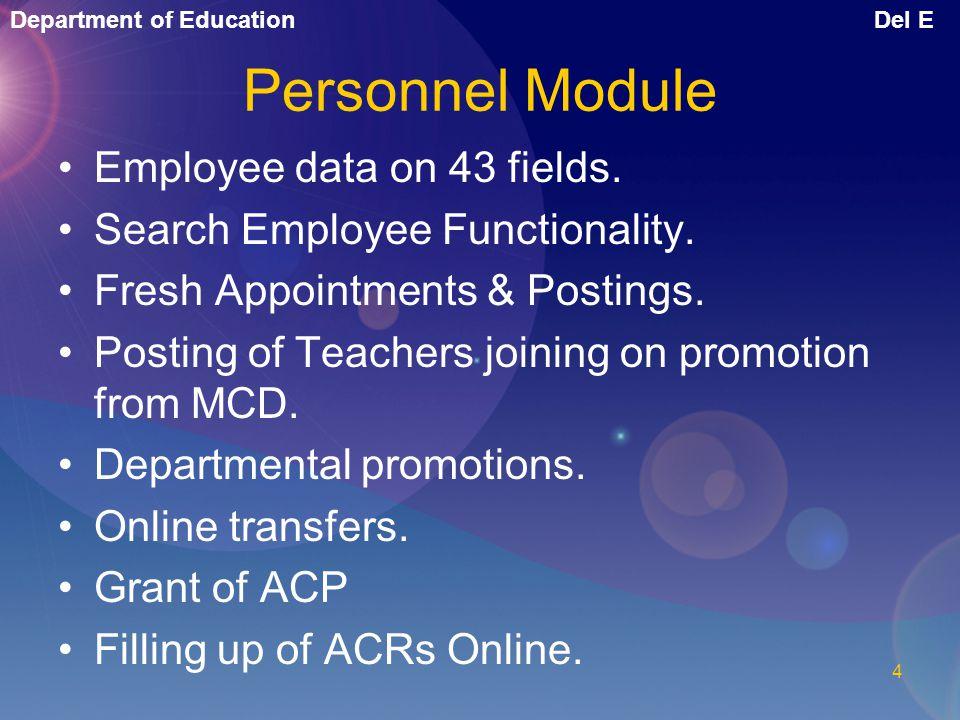 Personnel Module Employee data on 43 fields.