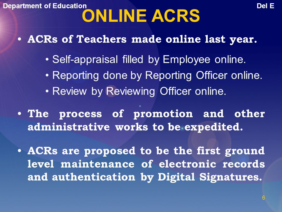 ONLINE ACRS ACRs of Teachers made online last year.