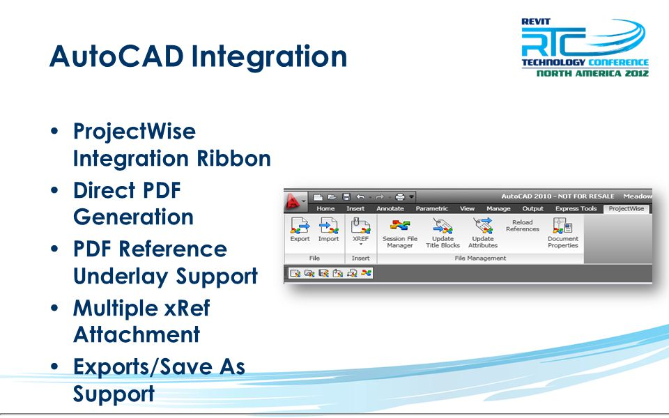 AutoCAD Integration ProjectWise Integration Ribbon