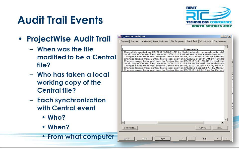 Audit Trail Events ProjectWise Audit Trail