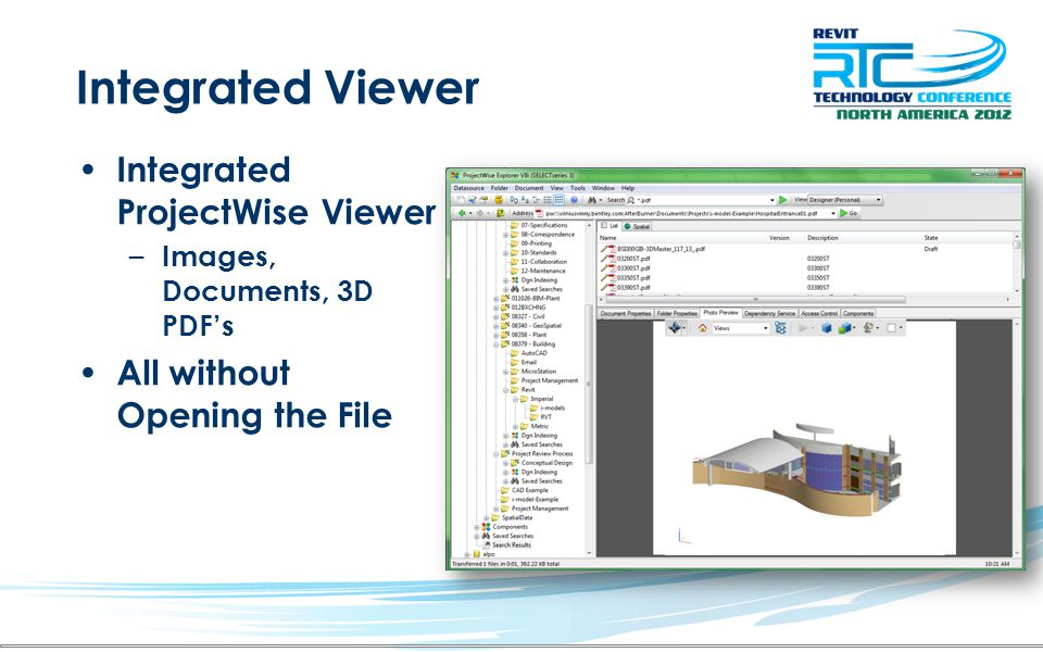 Integrated Viewer Integrated ProjectWise Viewer
