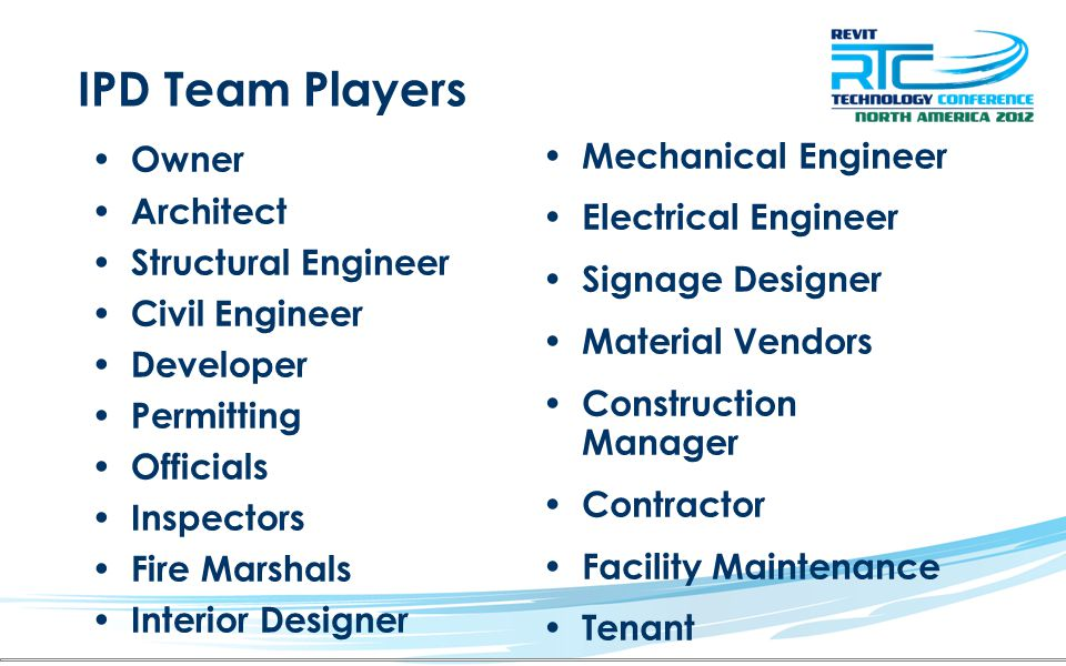 IPD Team Players Owner Architect Structural Engineer Civil Engineer