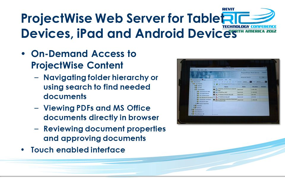 ProjectWise Web Server for Tablet Devices, iPad and Android Devices
