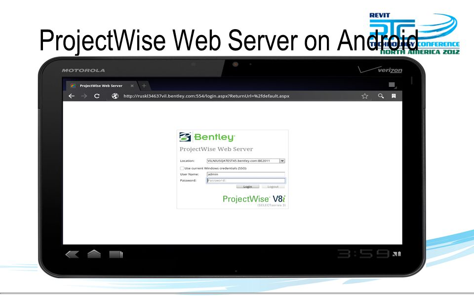 ProjectWise Web Server on Android Tablets