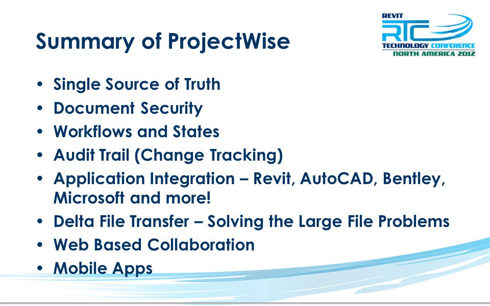 Summary of ProjectWise