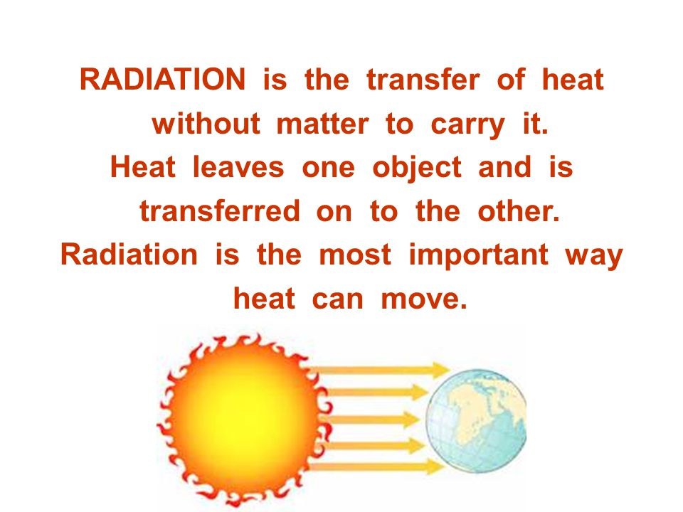 RADIATION is the transfer of heat without matter to carry it.