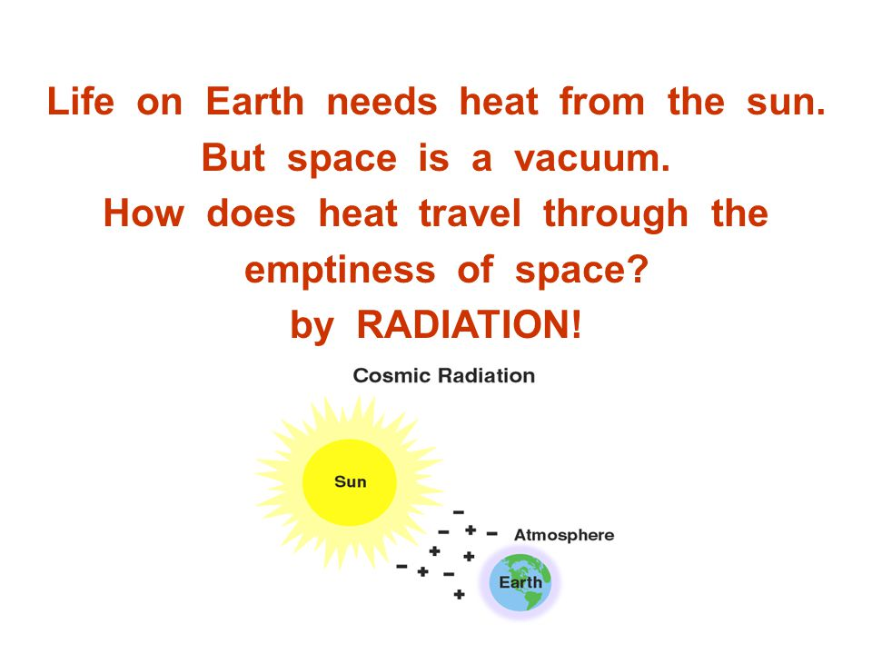 Life on Earth needs heat from the sun. But space is a vacuum.