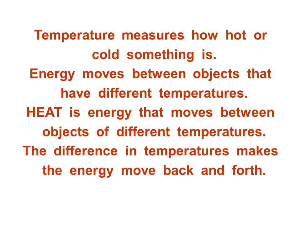 Temperature measures how hot or cold something is.