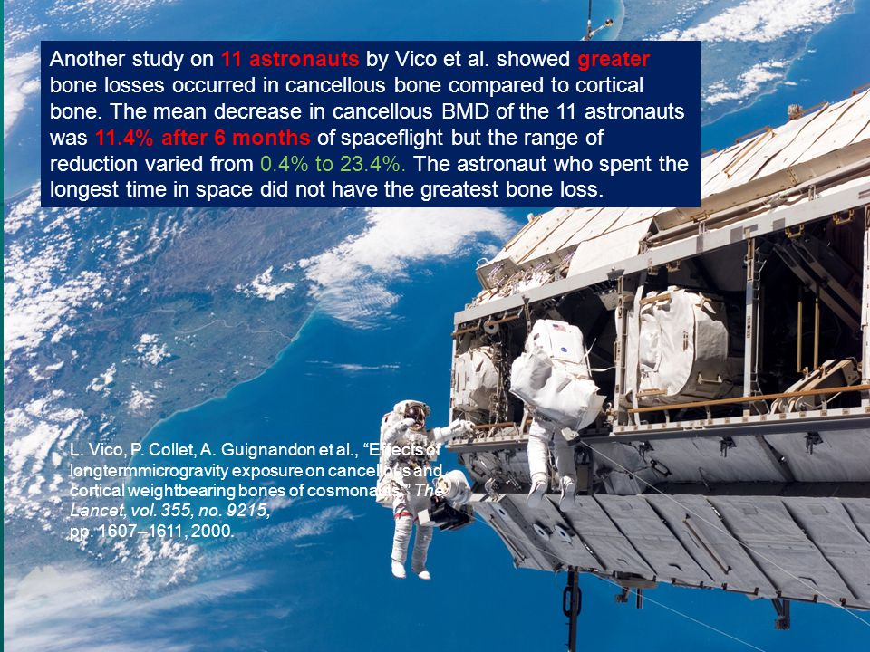 Another study on 11 astronauts by Vico et al