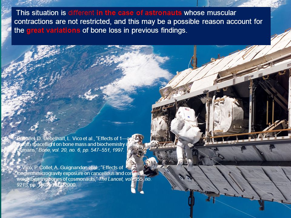 This situation is different in the case of astronauts whose muscular contractions are not restricted, and this may be a possible reason account for the great variations of bone loss in previous findings.
