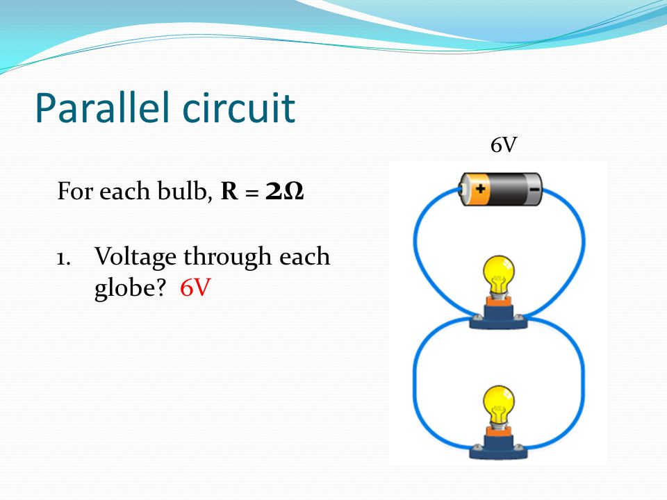 Parallel circuit For each bulb, R = 2Ω Voltage through each globe 6V