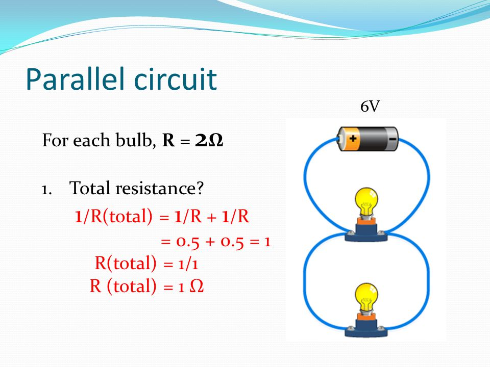Parallel circuit For each bulb, R = 2Ω Total resistance