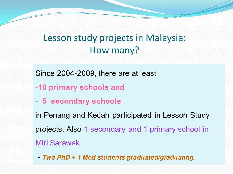 Lesson study projects in Malaysia: How many