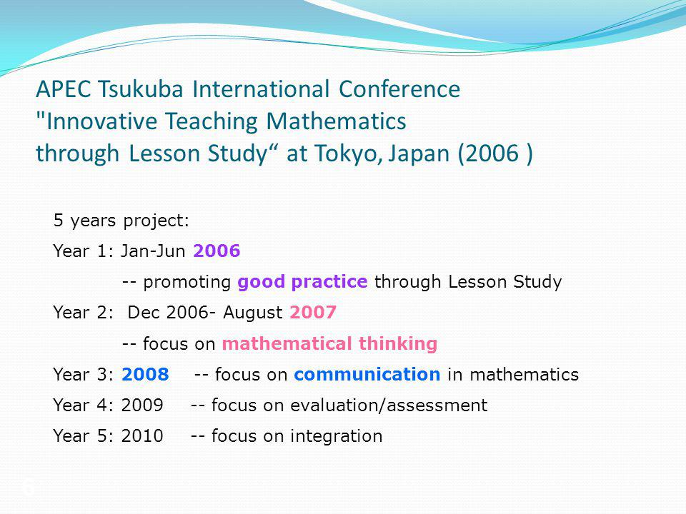 APEC Tsukuba International Conference Innovative Teaching Mathematics through Lesson Study at Tokyo, Japan (2006 )