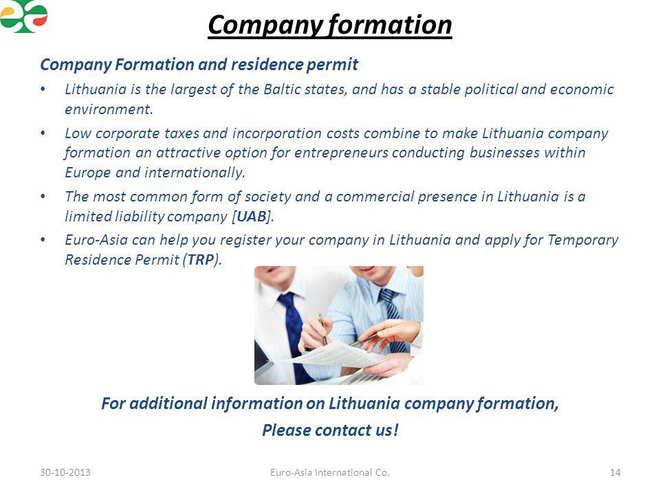 For additional information on Lithuania company formation,