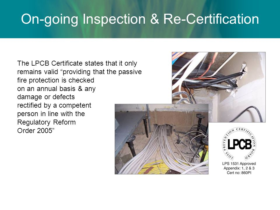 On-going Inspection & Re-Certification