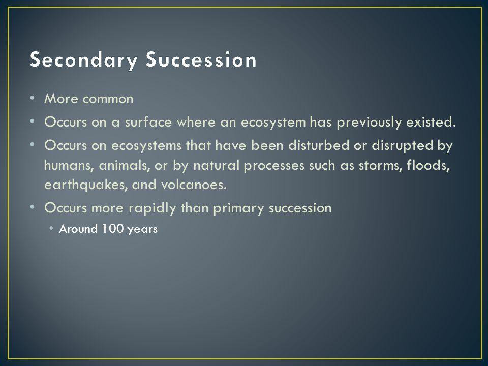 Secondary Succession More common