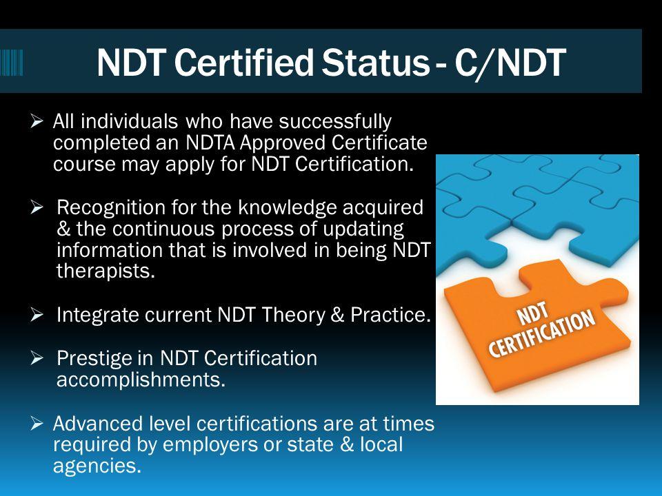 NDT Certified Status - C/NDT