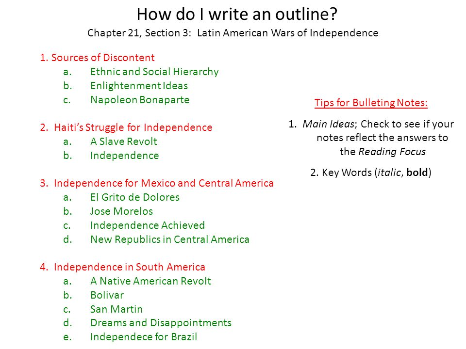 How do I write an outline