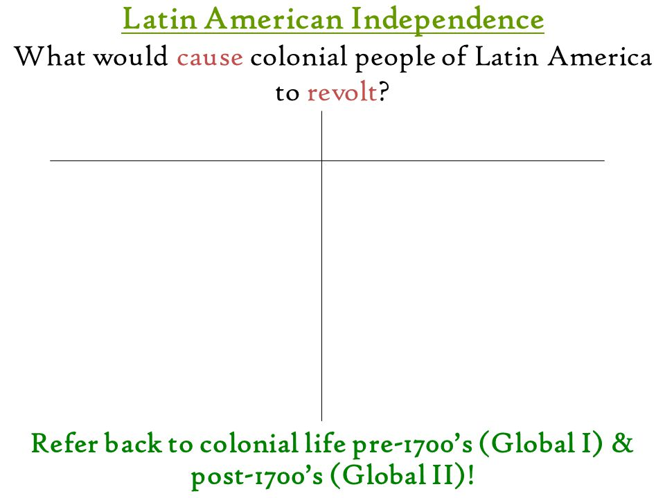 Latin American Independence What would cause colonial people of Latin America to revolt