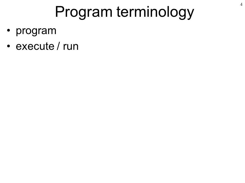 Program terminology program execute / run