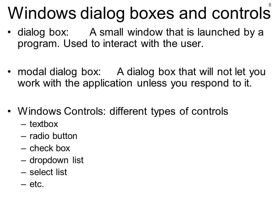 Windows dialog boxes and controls