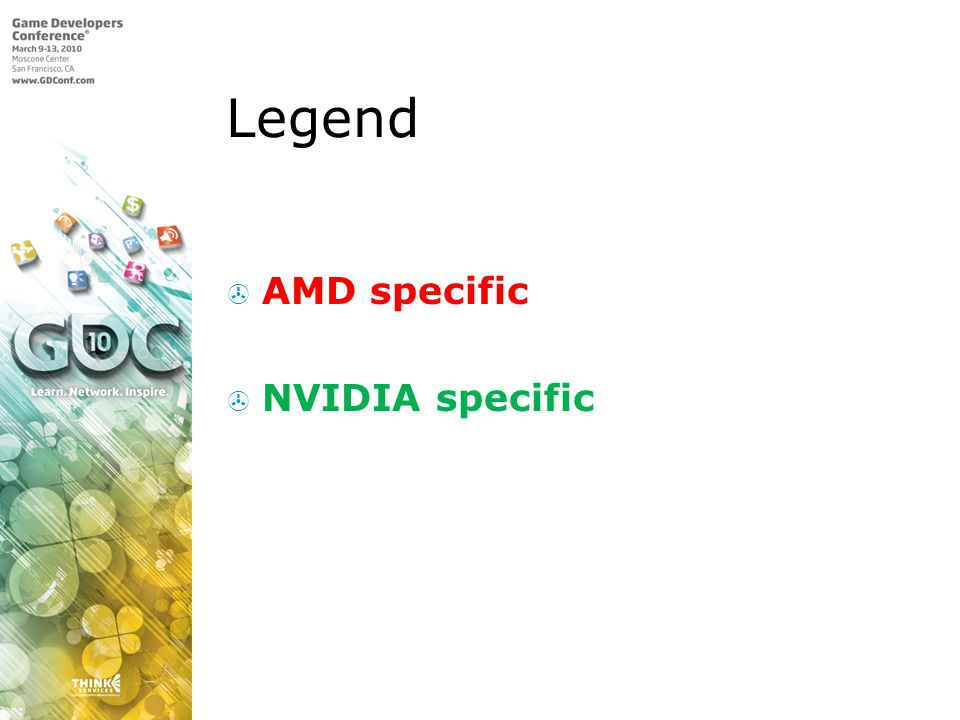 Legend AMD specific NVIDIA specific