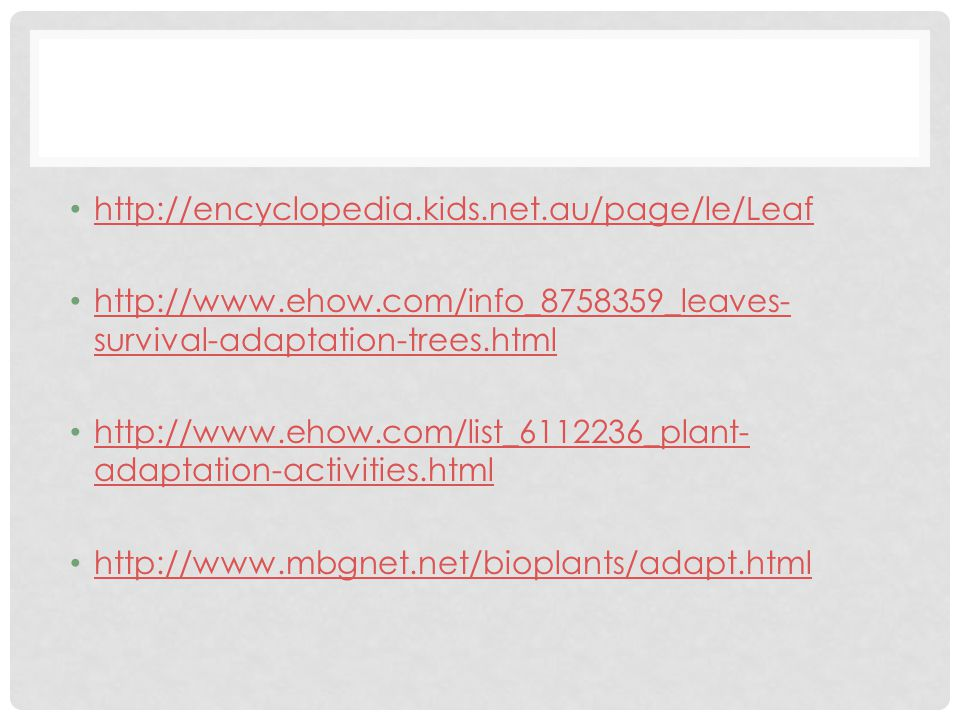 http://encyclopedia.kids.net.au/page/le/Leaf http://www.ehow.com/info_8758359_leaves-survival-adaptation-trees.html.