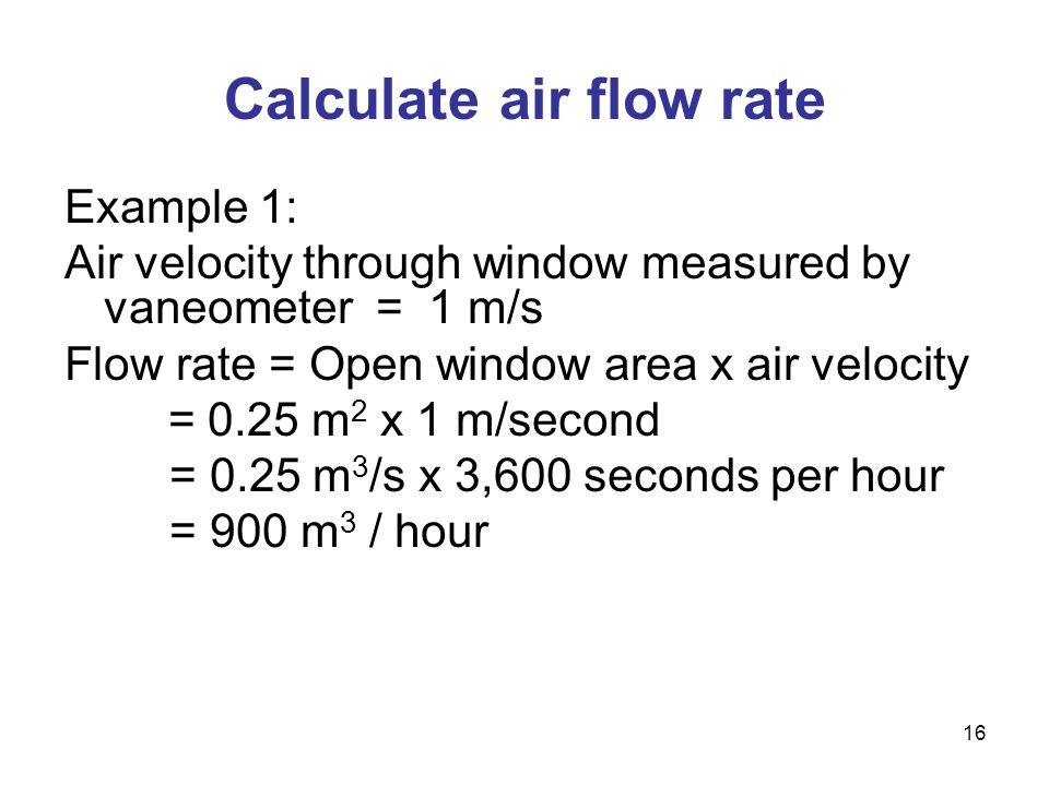 Calculate air flow rate