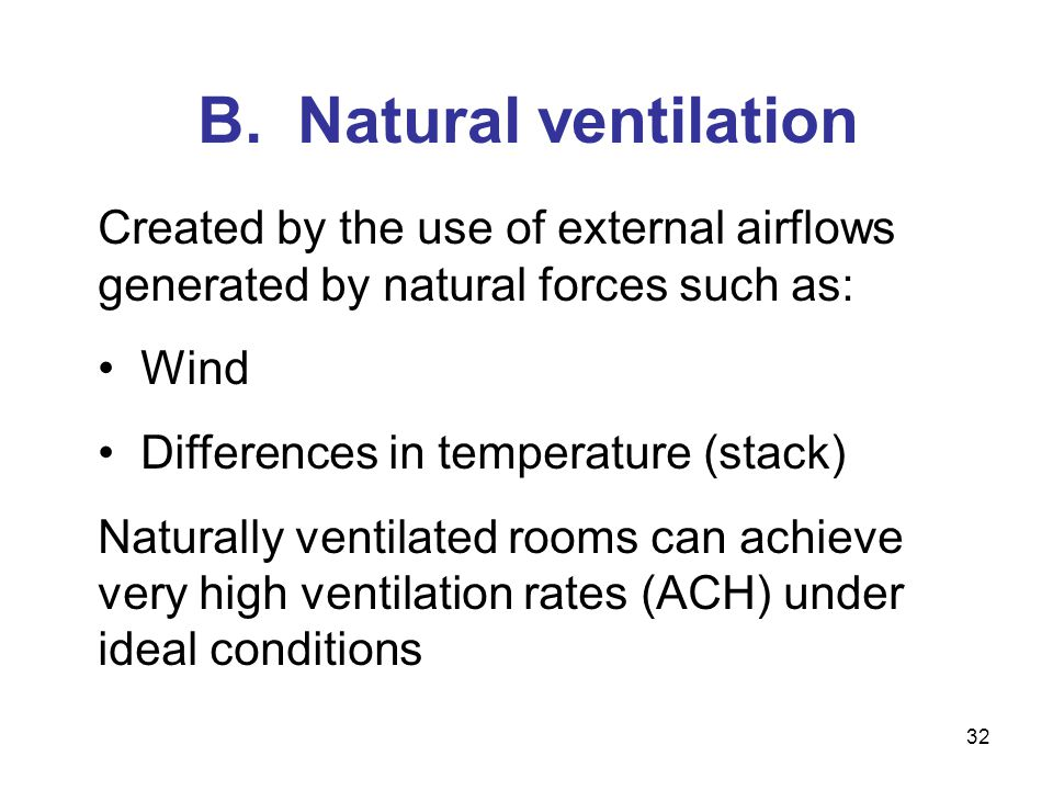 B. Natural ventilation Created by the use of external airflows generated by natural forces such as: