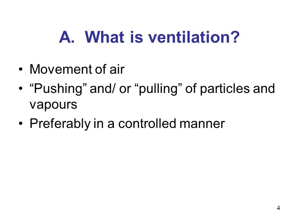 A. What is ventilation Movement of air