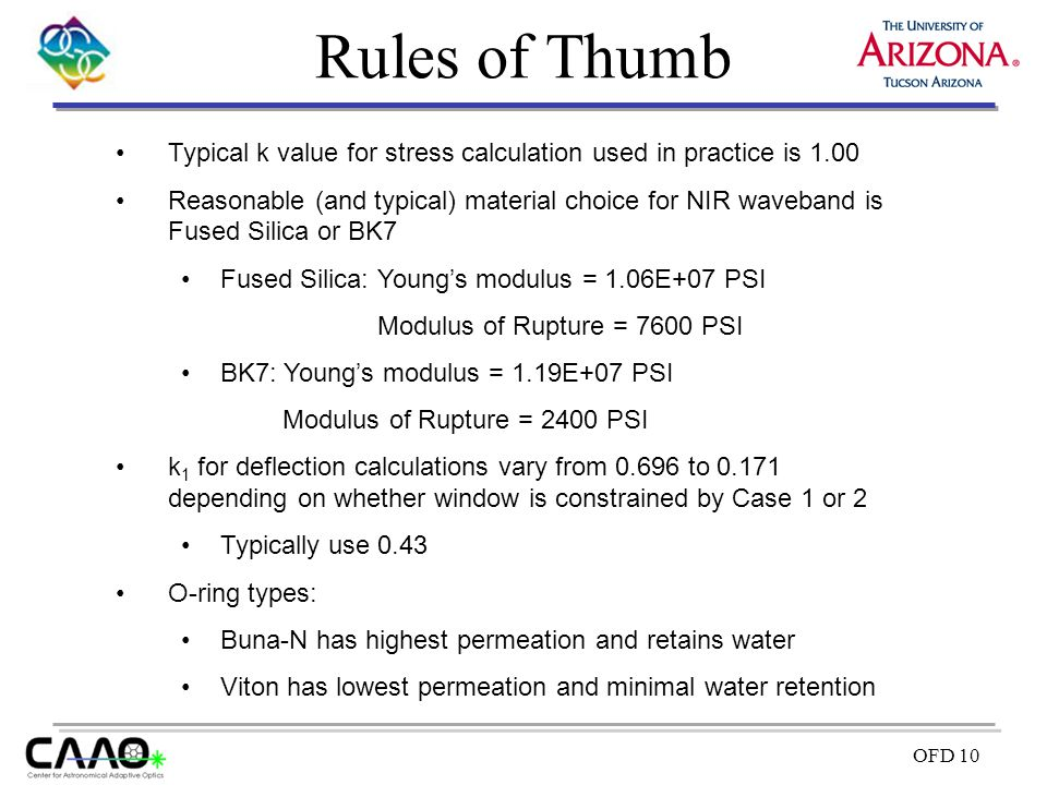 Rules of Thumb Typical k value for stress calculation used in practice is 1.00.