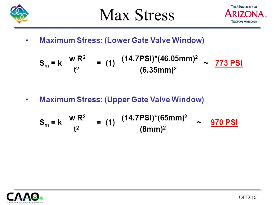 Max Stress Maximum Stress: (Lower Gate Valve Window) Sm = k t2 w R2 =
