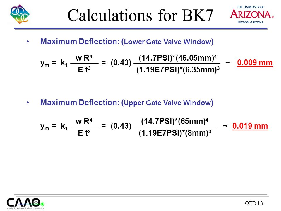 Calculations for BK7 Maximum Deflection: (Lower Gate Valve Window)