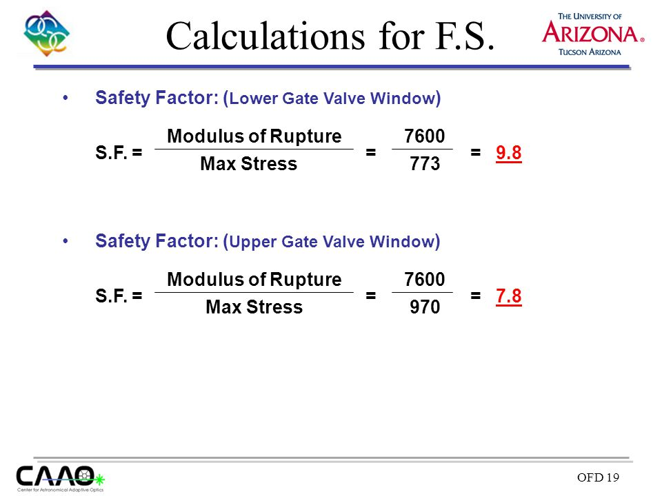 Calculations for F.S. Safety Factor: (Lower Gate Valve Window) S.F. =