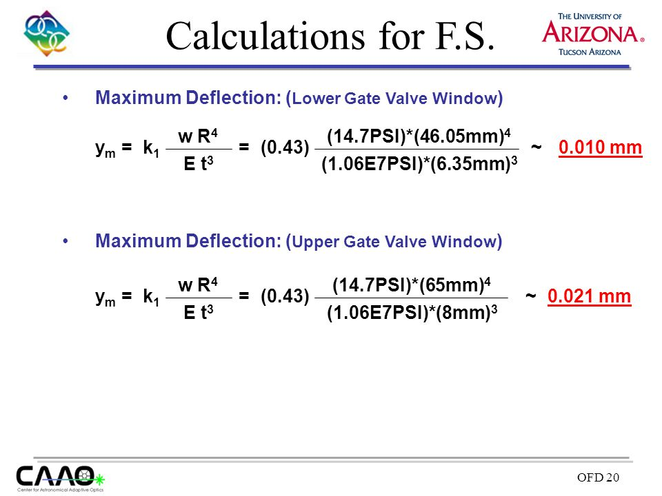 Calculations for F.S. Maximum Deflection: (Lower Gate Valve Window)