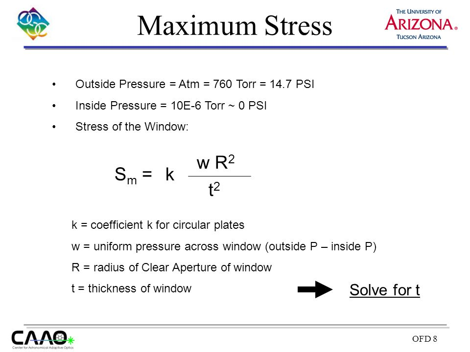 Maximum Stress w R2 Sm = k t2 Solve for t
