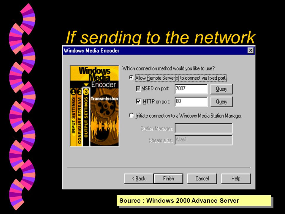 If sending to the network