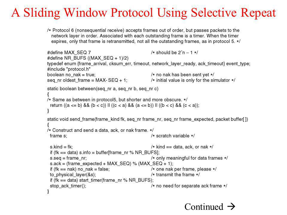 A Sliding Window Protocol Using Selective Repeat