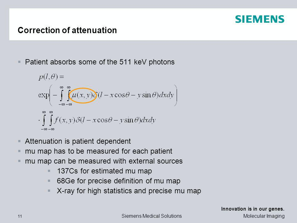 Correction of attenuation