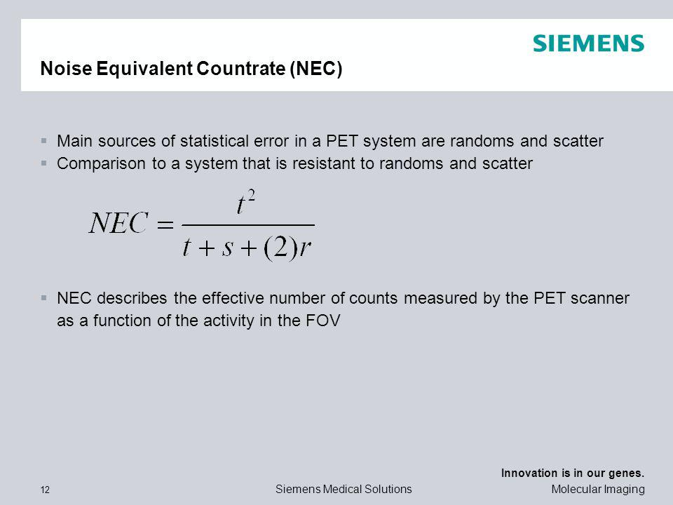 Noise Equivalent Countrate (NEC)