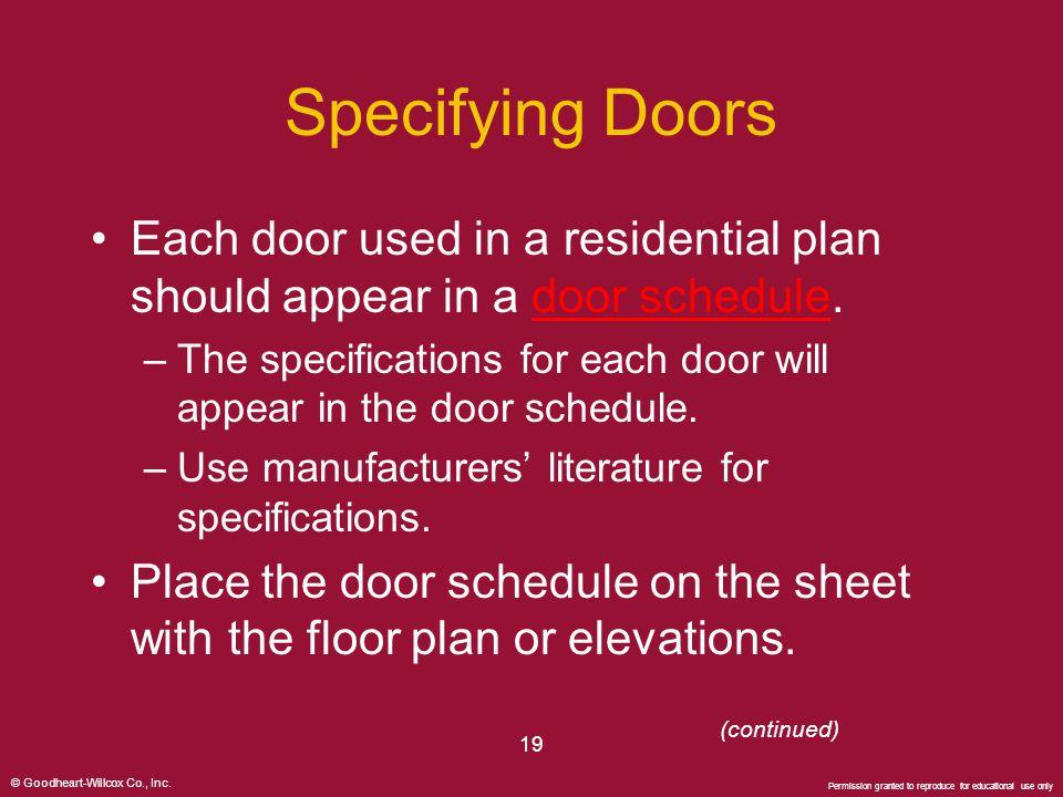 Specifying Doors Each door used in a residential plan should appear in a door schedule.