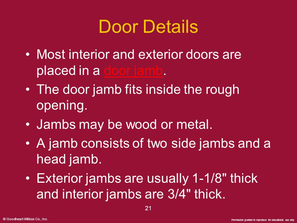 Door Details Most interior and exterior doors are placed in a door jamb. The door jamb fits inside the rough opening.