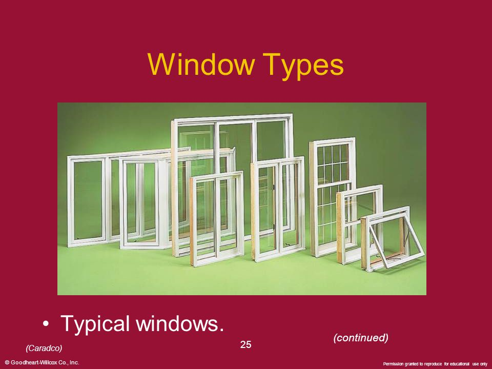 Window Types Typical windows. (continued) 25 (Caradco)
